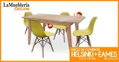 Juego de comedor: Mesa Nordica Artus + 4 sillas Eames en La Muebleria OnLine