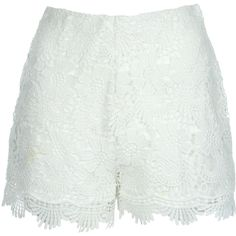 Jane Norman Crochet Shorts ($39) ❤ liked on Polyvore featuring shorts, white, jane norman, scalloped shorts, side zip shorts, summer shorts and scallop hem shorts