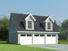 3-Car Garage Loft Plan, 006G-0087 With shed dormers, a steep roofline and a siding façade, this 3-car garage plan with flex space sports Cape Cod styling. Three overhead garage doors open to three separate parking stalls delivering 810 square feet of usable space, ideal for three automobiles or perhaps two cars and a workshop area. Garage Plans With Loft, Loft Plan, 3 Car Garage Plans, Garage Loft, Barn Garage, Garage Ideas, Garage With Living Quarters, Garage To Living Space, Garage Studio