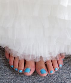 "A blue wedding day pedicure | Fun ideas for your ""Something Blue"" on PreOwnedWeddingDresses.com"