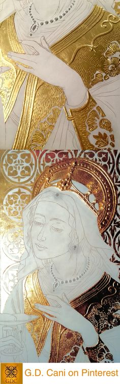 Giada Dalli Cani - St Agatha - 2016. 24ct gold leaf application stage. Byzantine Icons, Byzantine Art, Catholic Art, Religious Art, Christian Drawings, Gold Leaf Art, Illumination Art, Art Textile, Gold Work