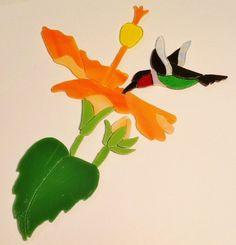 "PRECUT STAINED GLASS KIT HUMMINGBIRD & FLOWER MOSAIC INLAY GARDEN STONE 7"" x 7"" #HANDCRAFTEDBYSELLER"