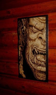 World of Warcraft - ORC woodburned home decoration. $44.90, via Etsy.