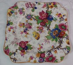 VINTAGE ENGLISH CHINTZ CROWN DUCAL SALAD CAKE SQUARE PLATE CHINESE LANTERNS  #RoyalDucal