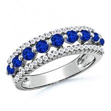 Floating Blue Sapphire Semi Eternity Wedding Band With Accent Diamonds