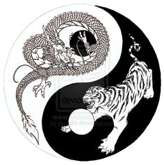 Dragon Tiger Yin Yang sketch by donle83.deviantart.com on @deviantART