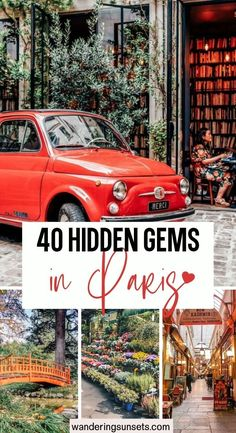 40 Hidden Gems in Paris. The 40 Secret Places in Paris even Locals Don't Know. Here are 40 Secret Places in Paris you need to put on your Paris bucket list. I included my favorite secret spots in Paris even locals don't know about. Explore hidden passages, tiny streets covered in vines and blooming flowers, pretty parks and more... | Hidden Gems in Paris | Paris Hidden Gems | Pretty Places in Paris | Secret Places in Paris | Underrated Places in Paris | Unique things to do in Paris | Paris Travel Tips, Europe Travel Guide, Europe Destinations, France Travel, Travel Guides, Family Vacation Spots, European Vacation, European Travel, Family Travel