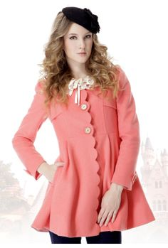 Goodbye Kiss Scalloped Edge Coat in Coral  $89.99