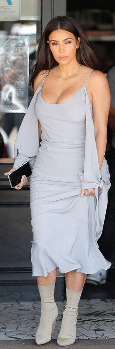 e57fe6050b3 Kim Kardashian  Dress – Juan Carlos Obando Shoes – Yeezy Nude Ankle Boots