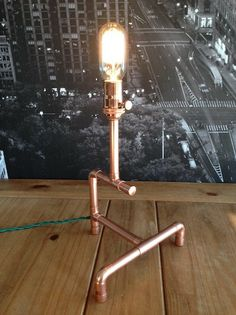 Steampunk Industrial Vintage Copper Pipe Lamp on Etsy, $85.00