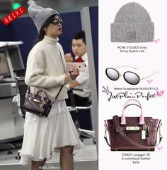 Just Plain Perfect: f(x) Victoria Song Airport Fashion Airport Style, Airport Fashion, Victoria Song, Beanie Hats, Acne Studios, Color Blocking, Sunglasses, Nice, Leather