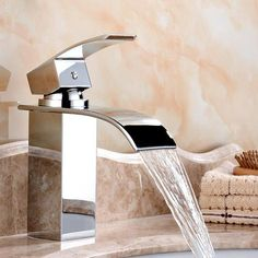 Deck Mount Waterfall Bathroom Faucet Vanity Vessel Sinks Mixer Tap Cold And Hot Vessel Faucets, Brass Faucet, Bathroom Sink Faucets, Bathroom Fixtures, Bathrooms, Cozy Bathroom, Bathroom Laundry, Vanity Bathroom, Simple Bathroom