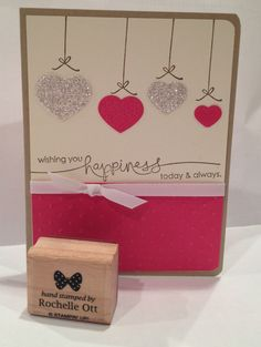 Stampin' Up! Wedding Card made with Fashionable Heart Embosslet, polka dot embossing folder, glimmer paper and Heard from the Heart stamp set