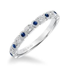 ArtCarved Diamond & Blue Sapphire Stackable Band