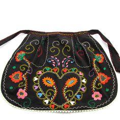 Pretty Vintage Souvenir Apron, Portugal, Cotton, Hand Embroidered,Unused, Black, RickRack Trim, Folk Embroidery