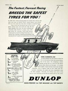 1960 Ad Dunlop Tyre Tires Car Auto Part Argentine Grand Prix Race Formula 1 YMT2