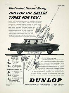 1960 Ad Dunlop Tyre Tires Car Auto Part Argentine Grand Prix Race Formula 1 YMT2