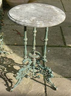 A Victorian cast-iron table.