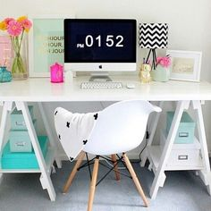 from the super talented - we love how she has styled her Stationers Trestle Desk in White /compact home office ideas/ Home Office Space, Home Office Design, Home Office Decor, Home Decor, Office Ideas, Office Inspo, Desk Space, Desk Ideas, Office Spaces
