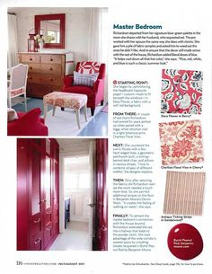 sarah richardson country living cottage starting point master bedroom red fabrics