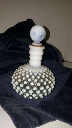 Vintage White Hobnail Glass Perfume Cologne Bottle w/ Stopper