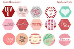I made some fun Valentines Freebies that go perfectly with the Epiphany Crafts Shape Studio Hexagon Tool and Round 25 Tool, Epoxies an. Epiphany Crafts, Planner Sheets, Printable Cards, Free Printables, Free Prints, Stickers, Journal Cards, Be My Valentine, Happy Planner
