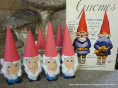 Garden Gnomes.  Toliet paper roll, construction paper and cotton balls.