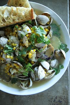 Mexican Beer Steamed Clams with Corn, Jalapeno and Cilantro by Heather Christo,