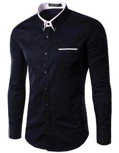 Formal Style Long Sleeve Men Turn-down Collar Dress Shirt M-4XL