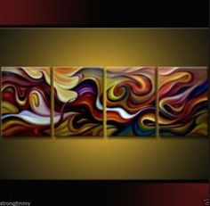 4 pieces Large Modern Abstract Art Oil Painting Wall Deco canvas + FREE GIFT