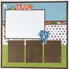 12x12 Soccer Scrapbook Page Kit or Premade Pre-Cut with Instructions 6 pages Team Coach Soccer Sports This is a pre-cut do-it-yourself scrapbook kit that includes all of the materials to make six 12x12 scrapbook pages. (Also available pre made) Perfect for soccer photos and team pictures.