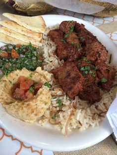 Shish Kebab with Lebanese Rice, Tabouleh and Hummus - Kan Zaman Restaurant, Honolulu, Hawaii
