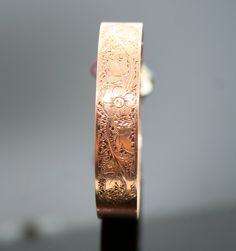Antique Victorian 14k Rose Gold Hand Engraved Adjustable Bangle Bracelet. $975.00, via SITFineJewelry Etsy.