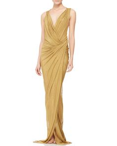 Donna Karan  Plunging Twist-Back Evening Gown - front