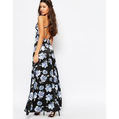 Missguided Cross Back Floral Maxi Dress ($24) ❤ liked on Polyvore featuring dresses, black, v neck dress, v neck maxi dress, tall dresses, flower print dress and floral dresses