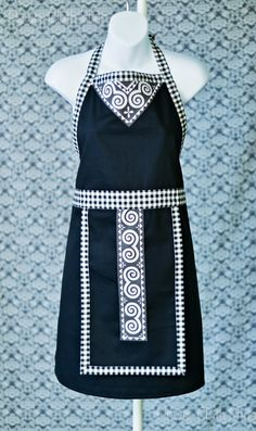 Hey, I found this really awesome Etsy listing at https://www.etsy.com/listing/172568690/black-and-white-apron-hmong-inspired