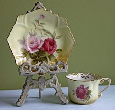 Cup and Saucer Set.  Porcelain Demitasse Tea by AnythingDiscovered, $32.00