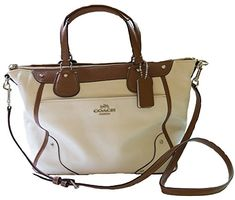 Coach Spectator Leather Mickie Satchel Handbag Silver/Chalk/Saddle * Find out more about the great product at the image link.