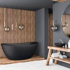 """Interform AS (@interformas) posted on Instagram: """"Dette er vårt mest populære bilde her på Instagram. 🤩✨  Er det ikke lekkert med spiler og sort på badet?  Viena er et tøft…"""" • Jul 19, 2020 at 10:04am UTC Bathroom Trends, Bathroom Spa, Wood Bathroom, Inspiration Design, Bathroom Inspiration, Modern Bathroom Design, Bathroom Interior Design, Terrazzo, New Modern House"""