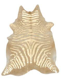 Golden Zebra Cowhide Rug by nuLOOM at Gilt