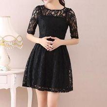 Hazie - Elbow-Sleeve A-Line Lace Dress
