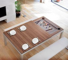 Wouldn't this be awesome for the back deck... table top removes with pool table underneath