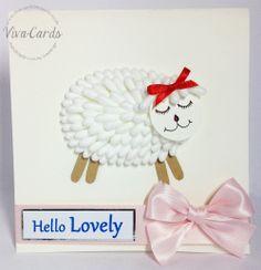 067 - Handmade Cards - 'Hello Lovely' - Love Ewe, Q-Tips!
