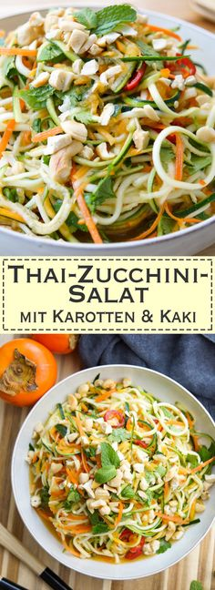 Thai Salat-Dressing für einen Thai-Zucchininudeln-Salat Rezept mit Karotten und Kaki oder Mango (gesund, glutenfrei, Low-carb, low-fat Elle Republic)