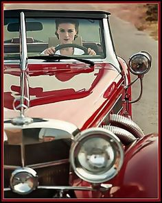 Love a vintage Red car..........