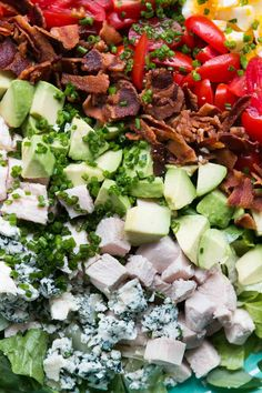 The classic Cobb Salad recipe with chicken, avocado, bacon and blue cheese, a perfect main course salad for lunch or dinner.