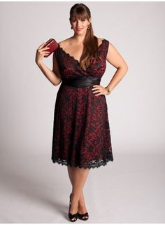 Plus Size Leigh Lace Dress in Red by IGIGI - StyleSays