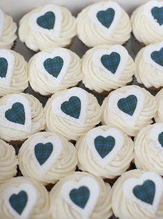 Tartan Heart Cupcakes