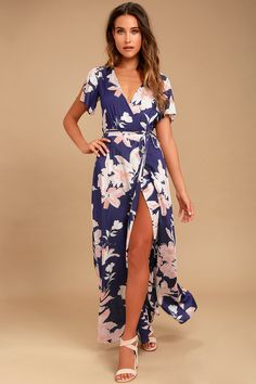 You'll be tempted to on a secret getaway in the Temptation Island Navy Blue Floral Print Maxi Dress! A navy blue floral print maxi dress with crisscrossing straps. Burgundy Maxi Dress, Blue Maxi, White Maxi, Mauve Dress, White Dress, Backless Maxi Dresses, Maxi Wrap Dress, Maxi Skirts, Long Dresses