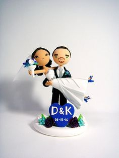 lol this looks like us! - Vivian   Honeymoon Jitters - Customized wedding cake topper
